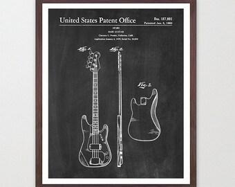 Fender Patent - Fender Bass - Fender Poster - Bass Poster - Bass Print - Bass Art - Fender Wall Art - Music wall Art - Music Art - Electric