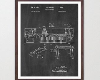 Piano Poster - Piano Art Print - Piano Design - Music Poster - Music Art Print - Music Poster - Patent Print - Patent Poster - Keyboard