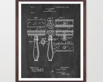 Razor - Razor Patent  - Gillette - Bathroom Art - Bathroom Print - Shaving - Bathroom Decor - Bathroom Patent Art - Man Poster - Men Poster