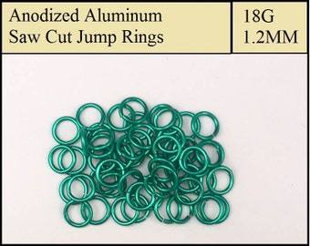 100 Dark Green Aluminum Jump Rings - 1.2mm = 18 gauge (SWG) = 16 gauge (AWG) wire - Anodized 5356 Aluminum - Saw Cut -On sale!!
