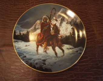 "Blue Thunder Nystic Warrior Native American Plate Chuck Ren Hamilton collection, Collector's Plate, Vintage, Prairie 8"" COA Coupon code"