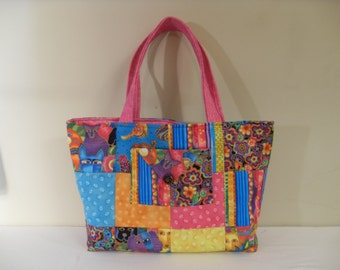 Cute! Pink and Blue Purse - Tote - Three Pockets