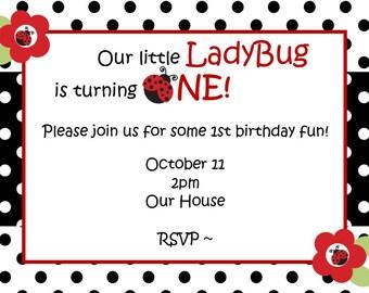 LadyBug Invitation - Lady Bug Birthday Invitation - LadyBug Party- Lady Bugs - LadyBugs - LadyBug Birthday - Lady Bug Invitation