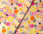 Quilting Cotton Fabric, Yellow and Pink, Yellow Fabric, Fat Quarter Fabric, Sunshine, Sewing Gifts.
