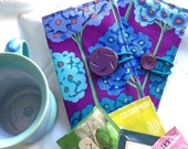 Purple and blue floral tea bag wallet / cotton holder for tea bags / gift for tea drinker / Kaffe Fassett fabric