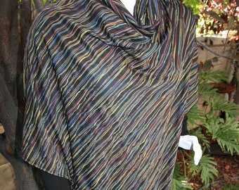 Poncho with Cowl Neck Multicolored Kaleidoscope Fabric