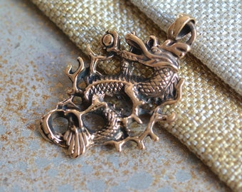 Bronze Dragon, Chinese Dragon, Mythical Dragon, Serpent, Full Body,45x33mm, 5mm Teardrop Bail, Cast in Bronze, Scales,Ferocious, One Pendant