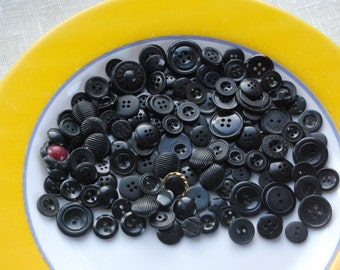 Black vintage buttons lot of 140 old plastic buttons for USSR millinery collection, sewing, jewelry, crafts