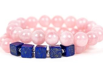 Lapis Lazuli, Rose Quartz gemstone, Gemstone Bracelet, Handmade Jewelry, Gemstone Jewelry, chakra, unique-gift-for-wife, energy, fashion