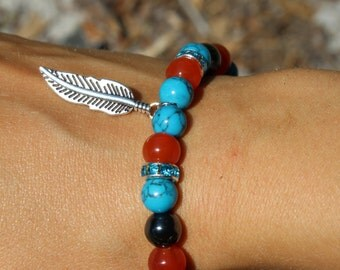 Carnelian Hematite & Turquoise Feather Bracelet