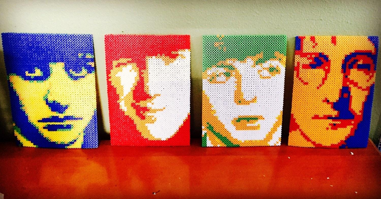 Set of four the beatles perler bead portraits pop art colors - Hama beads cuadros ...