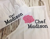 Personalized Kids White Chef Hat and Apron