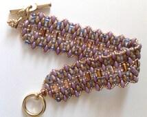 beadwoven bracelet,  rulla beads,  superduo, handmade bracelet, made in Italy bracelet, seed beads bracelet, amethyst bracelet, supperduo