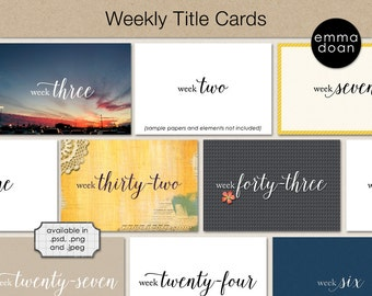 Project Life Weekly Title Cards, 52 Weeks Journaling Cards, Printable Project Life Journaling Cards, Digital Pocket Scrapbooking Week Cards