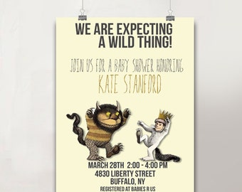 "5""x7"" Printable Where The Wild Things Are Baby Shower Invitation/Custom baby shower invitation/Baby shower announcement/Printable JPG/"