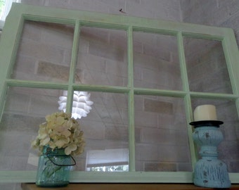 Light Green 8 Pane Painted Window - Re-Purposed Antique Painted Window Picture Frame  Wood Window - Window Picture Frame - Old Wooden Window