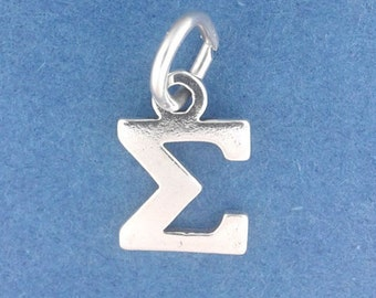 SIGMA GREEK Letter Charm, Fraternity, Sorority, Small .925 Sterling Silver Charm