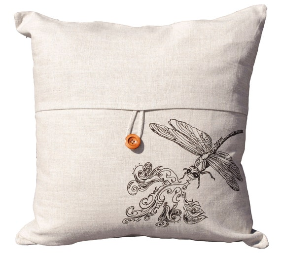 Throw Pillow With Dragonfly : Dragonfly Pillow 18 x 18 Throw Pillow Cover Beige Tweed
