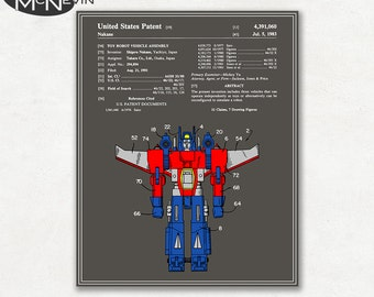 TRANSFORMERS PATENT, Vintage Fine Art Print Poster, Colour, Blueprint, or Black and White