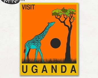 UGANDA, AFRICAN Travel Poster, Retro Pop Art
