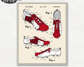 FOOTBALL (SOCCER) CLEAT Patent, Vintage Fine Art Print Poster, Colour, Blueprint, or Black and White