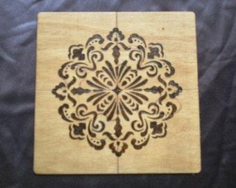 4 Piece Burned Wood Puzzle