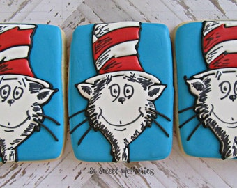 12 Sugar Cookies - Cat in the Hat Party Supplies