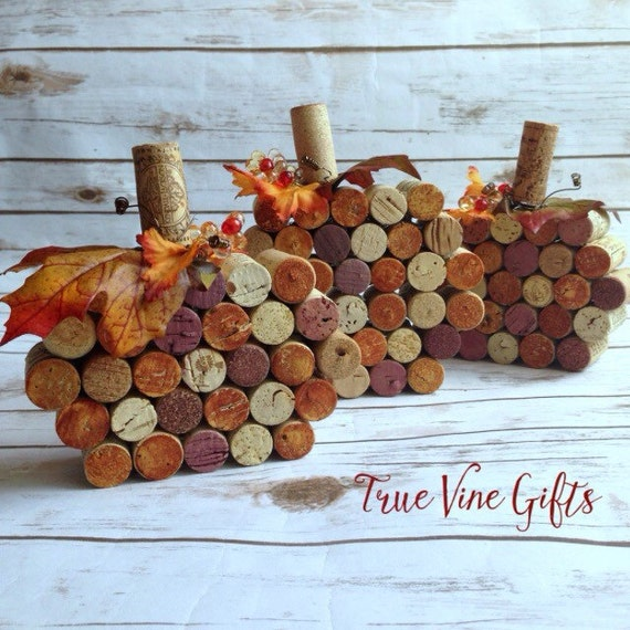 Set of three wine cork pumpkins for Crafts to make with wine corks
