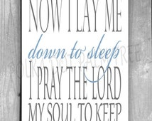 INSTANT DOWNLOAD Dream Now I Lay Me Down To Sleep I Pray The Lord My Soul To Keep Gray Blue Child's Room Nursery Word Art 8x10 Printable PDF