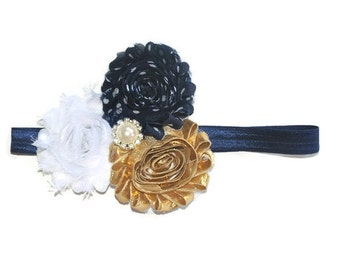 Navy & Gold Headband, Flower Head Band, Toddler Headband, Fall Headband, Baby Accessories, Baby Girl Hairband, 1st Birthday, Photo Props
