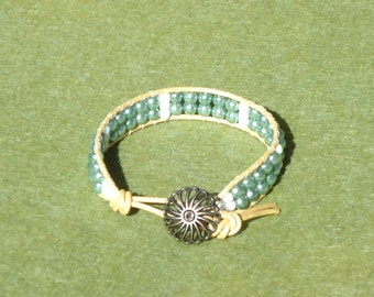 Child's wrap bracelet, leather wrap, seed bead bracelet, beaded bracelets, beaded jewelry, boho, chic, hippie