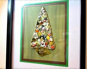 Button Tree Wall Art~Mixed Media Button Tree