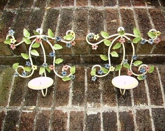 Vintage Shabby Cottage Chippy Tole Metal Flower Wall Sconces Candleholders Pair