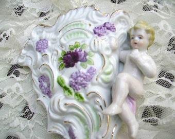 Vintage Porcelain Cherub Wall Pocket Romantic Cottage Cherub Purple HP Flowers