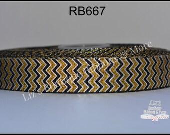 Gold/Black chevron glittered metallic 7/8, 3yds, grosgrain ribbon, glitter