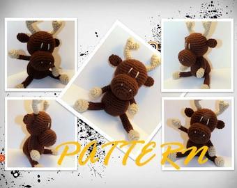 Amigurumi Pattern, Crochet pattern, Amigurumi Moose pattern, Crochet Moose pattern, Doll pattern