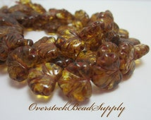10 Czech Maple Leaf Beads Brown and Yellow Picasso Pressed Glass Bead Gorgeous Fall Leaves 3897