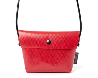 Handbag red, NATHALIE from canvas with leather cord