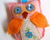 Pink wool felt owl with orange wings and blue button eyes, hand dyed wool felt and hand embroidery