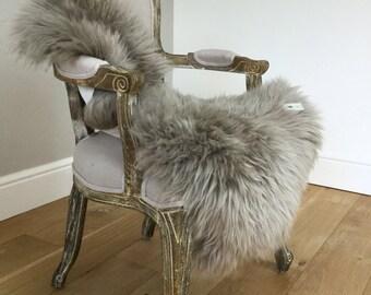 Grey , mid grey , dove grey, genuine sheepskin rug , sheepskin throw