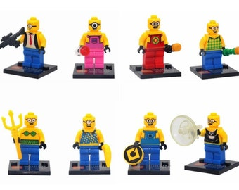Lot of 8 figures Lego Minion (Despicable Me) customized