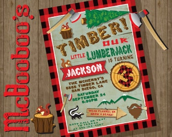 Lumberjack Rustic Adventure Woodland Birthday Party Invitations with flannel accents