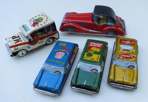 5 Vintage 1950's Tin Litho Friction Cars