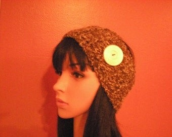 Tan Handknit Ear Warmer, Women's Winter Accessories, Tan Knit Headwarmer