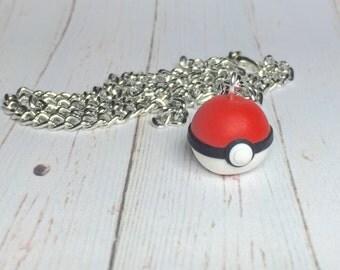 Pokemon Pokeball necklace, pokemon necklace, Pokemon jewelry, Pokemon Go jewelry, Pokemon jewellery, kawaii necklace, kawaii jewelry