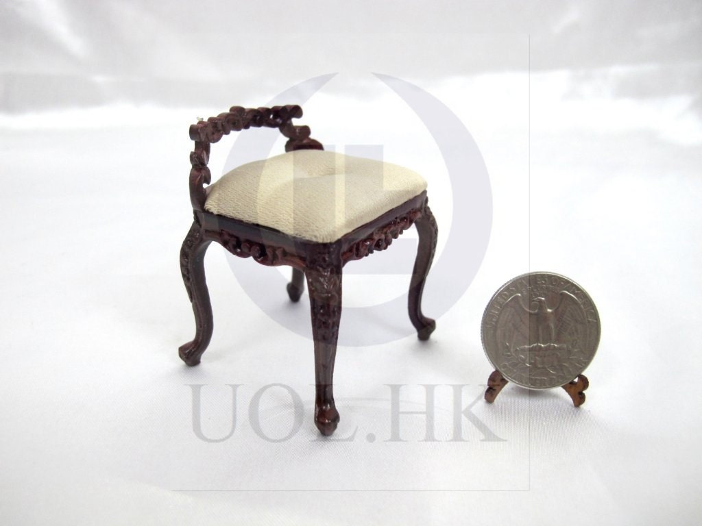 Miniature 1 12 Scale Low Back Vanity Stool For Doll House