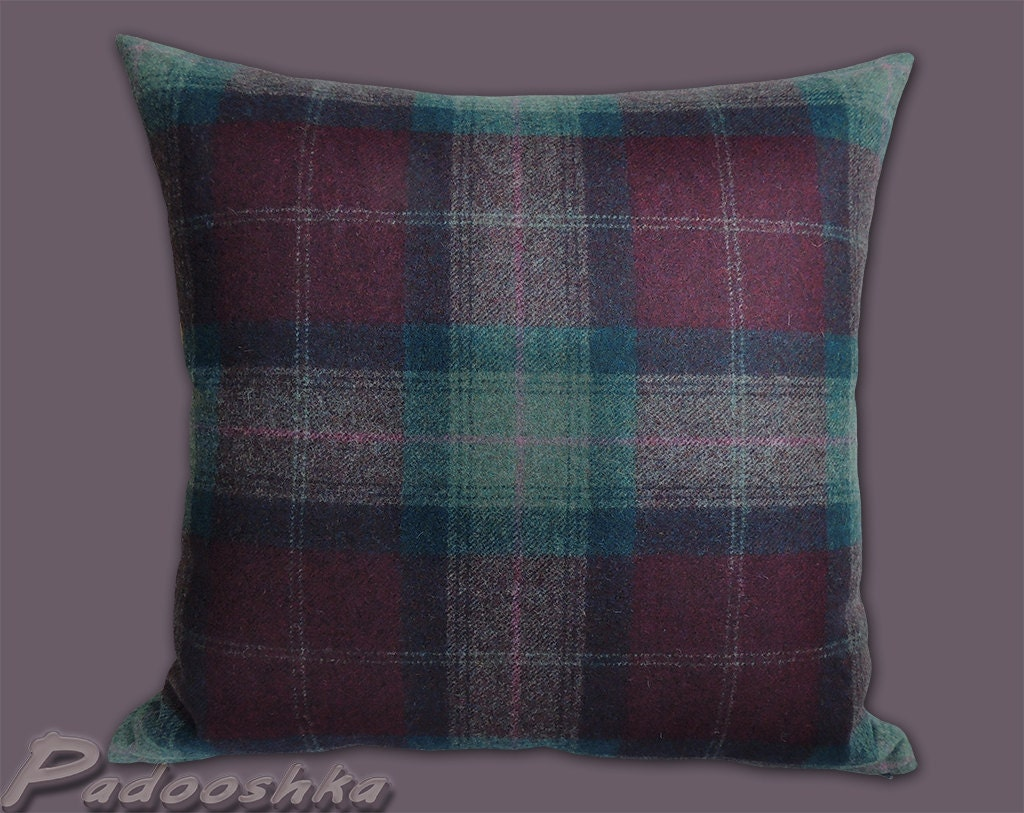 Plum and teal throw pillow cover. Tweed cushion cover by Padooshka