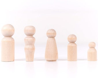 5 Peg Dolls| Peg Dolls| Peg Doll| Peg People| Wooden Peg Dolls| Waldorf| Wooden Peg Dolls| Wooden Toys| Wood Doll| Wooden Dolls| Wood