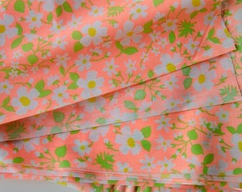 3 Yards 1960s Bright Vintage fabric Neon orange 100% cotton - B10