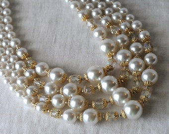 Vintage Japan Pearl and Crystal Necklace, 4 Strand, Faux Pearl, Ivory Pearl, AB Crystal, Gold Tone, KC002
